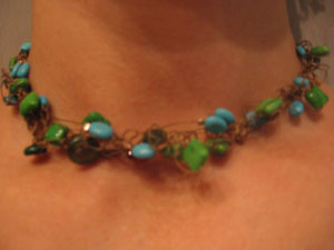 4. Blue and green Turquoise on antique Gold softwire with Carnelian accent