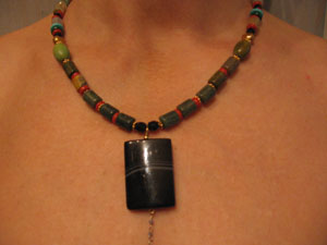 5. Onyx drop with Jasper, Coral, Turquoise necklace on Gold wire
