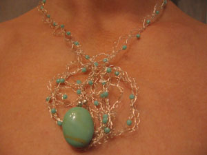 7. Turquoise on fine Silver wire