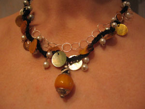9. Pearls and Shells on suede and  Fine Silver chain